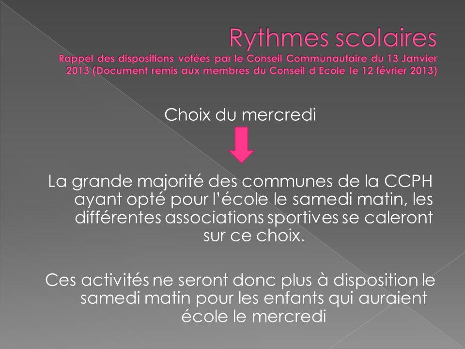 Choix du mercredi La grande majorité des communes de la CCPH ayant opté pour lécole le samedi matin, les différentes associations sportives se caleront sur ce choix.