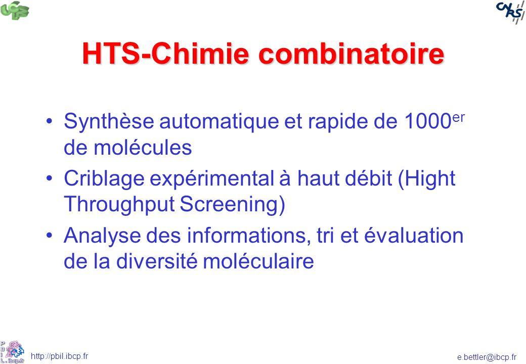 e.bettler@ibcp.fr http://pbil.ibcp.fr HTS-Chimie combinatoire Synthèse automatique et rapide de 1000 er de molécules Criblage expérimental à haut débit (Hight Throughput Screening) Analyse des informations, tri et évaluation de la diversité moléculaire