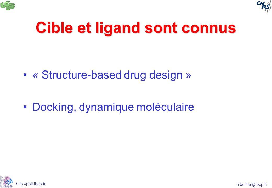e.bettler@ibcp.fr http://pbil.ibcp.fr Cible et ligand sont connus « Structure-based drug design » Docking, dynamique moléculaire