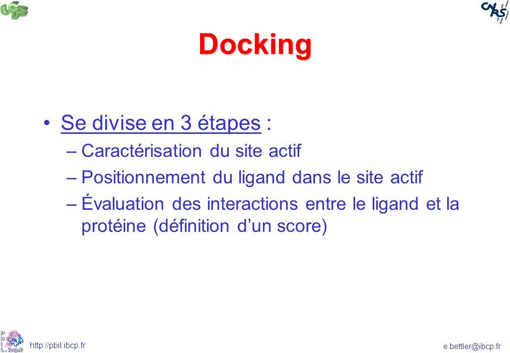 e.bettler@ibcp.fr http://pbil.ibcp.fr Docking Se divise en 3 étapes : –Caractérisation du site actif –Positionnement du ligand dans le site actif –Éva
