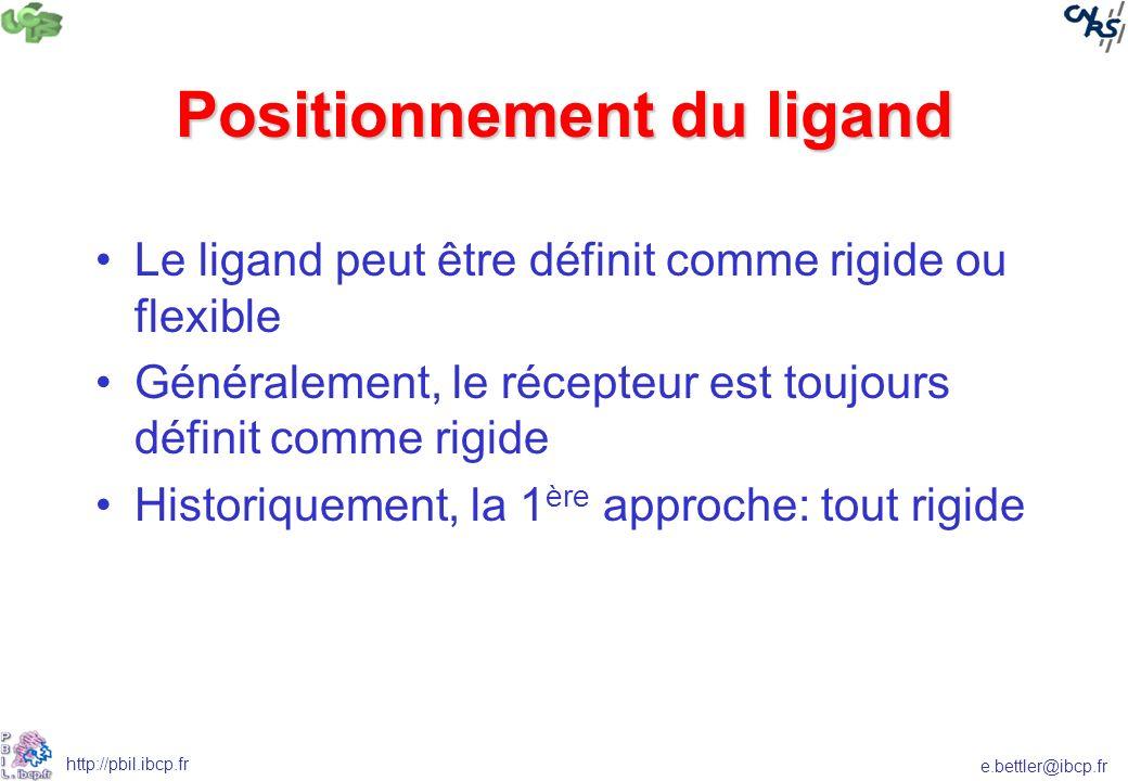 e.bettler@ibcp.fr http://pbil.ibcp.fr Positionnement du ligand Le ligand peut être définit comme rigide ou flexible Généralement, le récepteur est toujours définit comme rigide Historiquement, la 1 ère approche: tout rigide