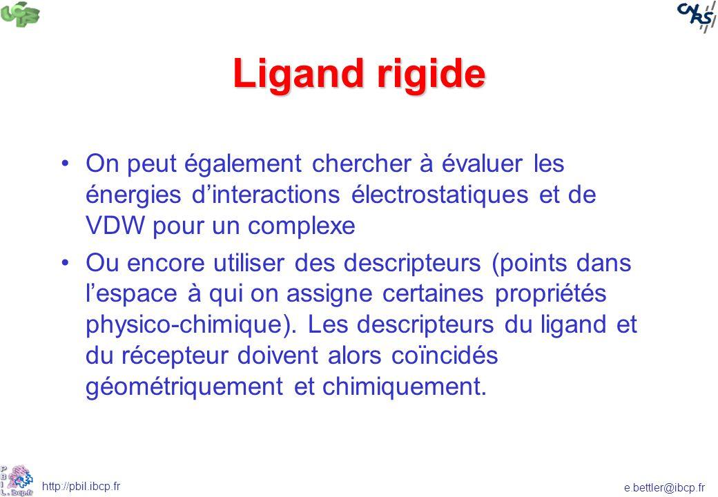 e.bettler@ibcp.fr http://pbil.ibcp.fr Ligand rigide On peut également chercher à évaluer les énergies dinteractions électrostatiques et de VDW pour un complexe Ou encore utiliser des descripteurs (points dans lespace à qui on assigne certaines propriétés physico-chimique).