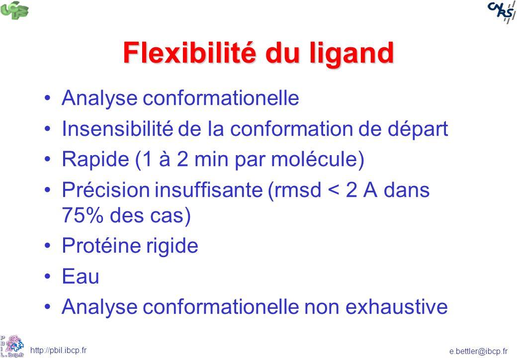 e.bettler@ibcp.fr http://pbil.ibcp.fr Flexibilité du ligand Analyse conformationelle Insensibilité de la conformation de départ Rapide (1 à 2 min par molécule) Précision insuffisante (rmsd < 2 A dans 75% des cas) Protéine rigide Eau Analyse conformationelle non exhaustive