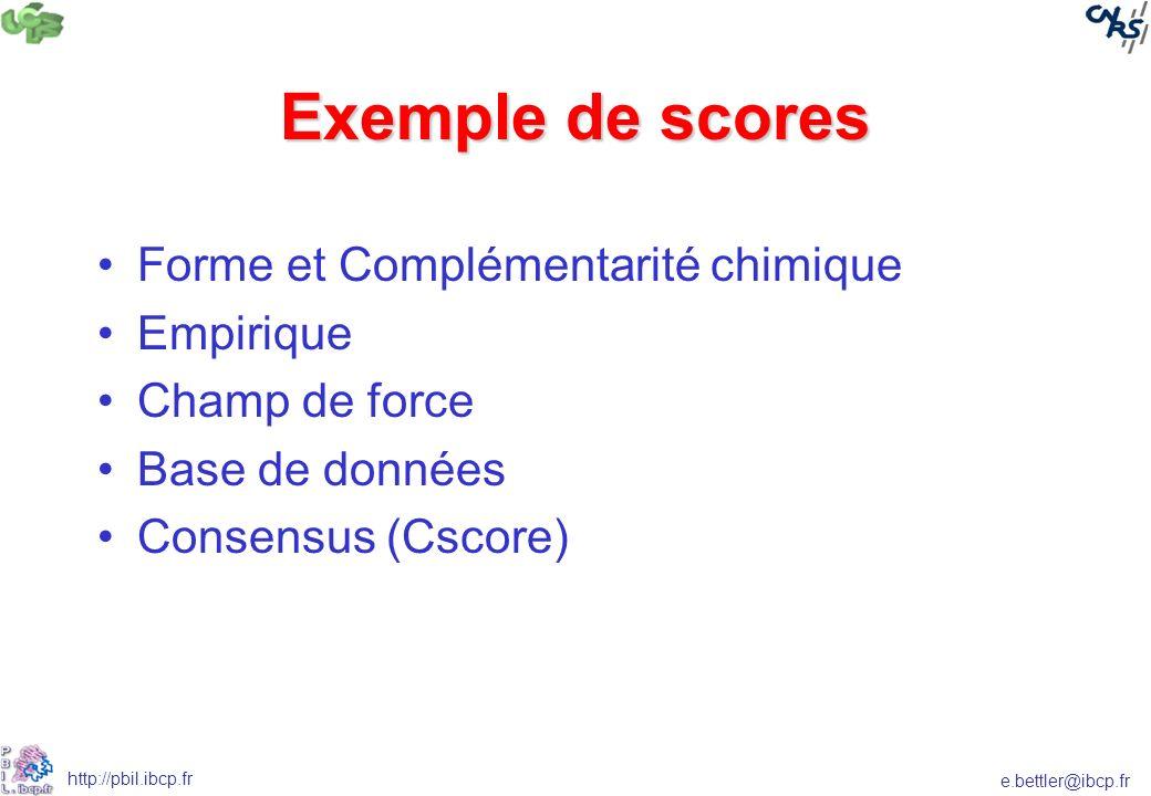 e.bettler@ibcp.fr http://pbil.ibcp.fr Exemple de scores Forme et Complémentarité chimique Empirique Champ de force Base de données Consensus (Cscore)