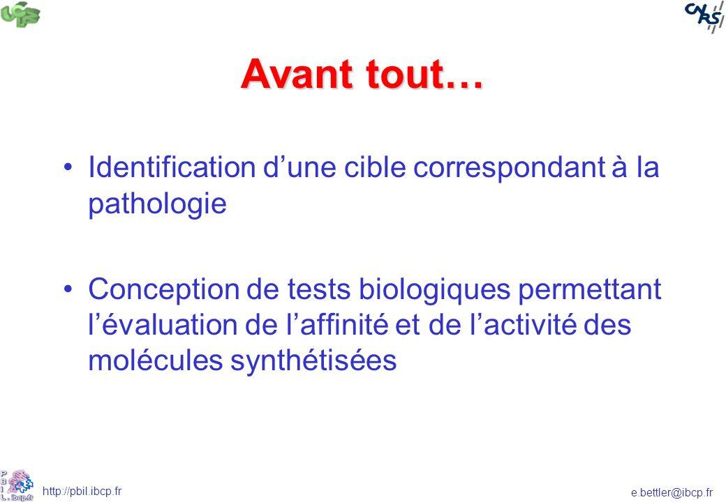 e.bettler@ibcp.fr http://pbil.ibcp.fr Screening virtuel: <1 sur 100 000 Molécules in silico ~10 7 ~10 000 molécules Filtres 1D/2D Tox/réact Règle de 5 Modèles Sélection finale 2 500 Pharmacophores (3D) MOLECULES Synthèse, HTS Hits Docking Réaction la plus favorable Réactifs ACD Enumération des réactions in silico Disponibilité, coût, PM, LogP, etc.