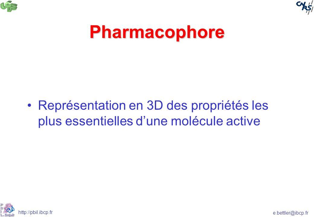 e.bettler@ibcp.fr http://pbil.ibcp.fr Pharmacophore Représentation en 3D des propriétés les plus essentielles dune molécule active