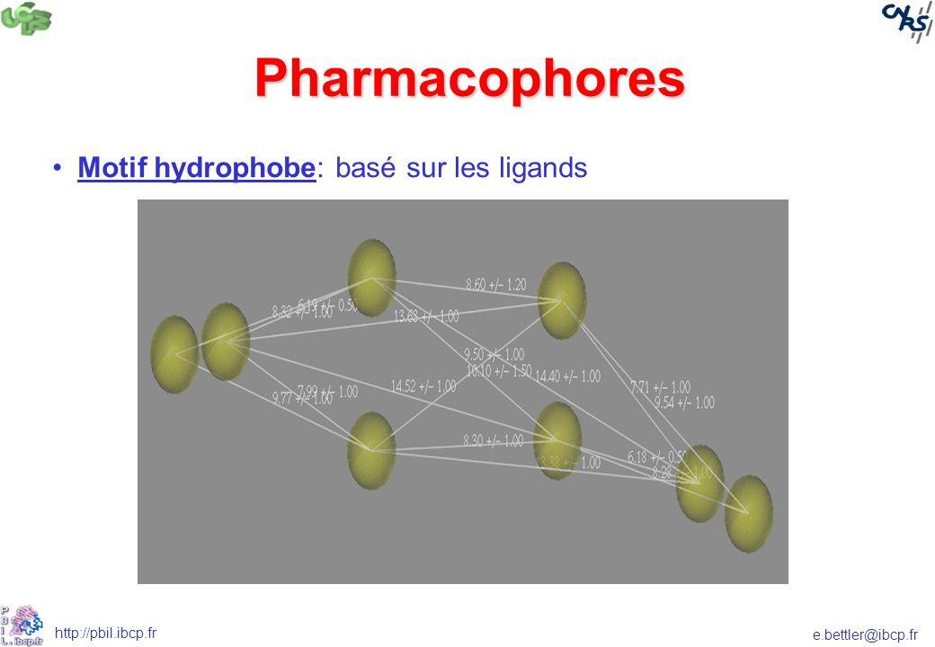 e.bettler@ibcp.fr http://pbil.ibcp.fr Motif hydrophobe: basé sur les ligands Pharmacophores