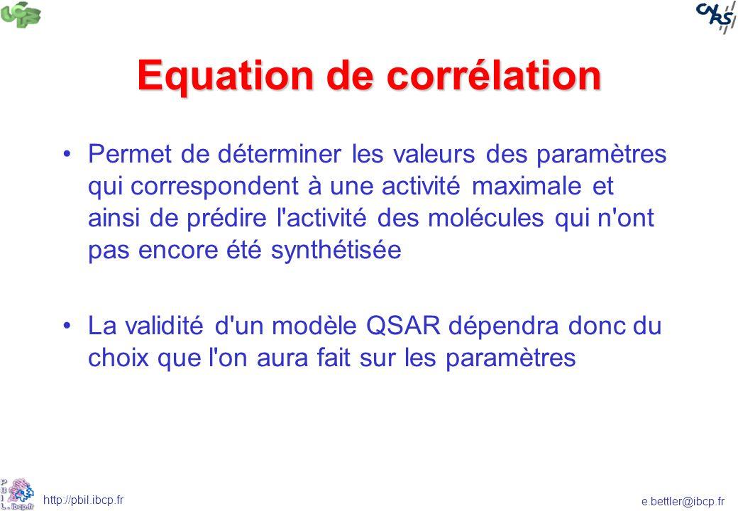 e.bettler@ibcp.fr http://pbil.ibcp.fr Equation de corrélation Permet de déterminer les valeurs des paramètres qui correspondent à une activité maximal