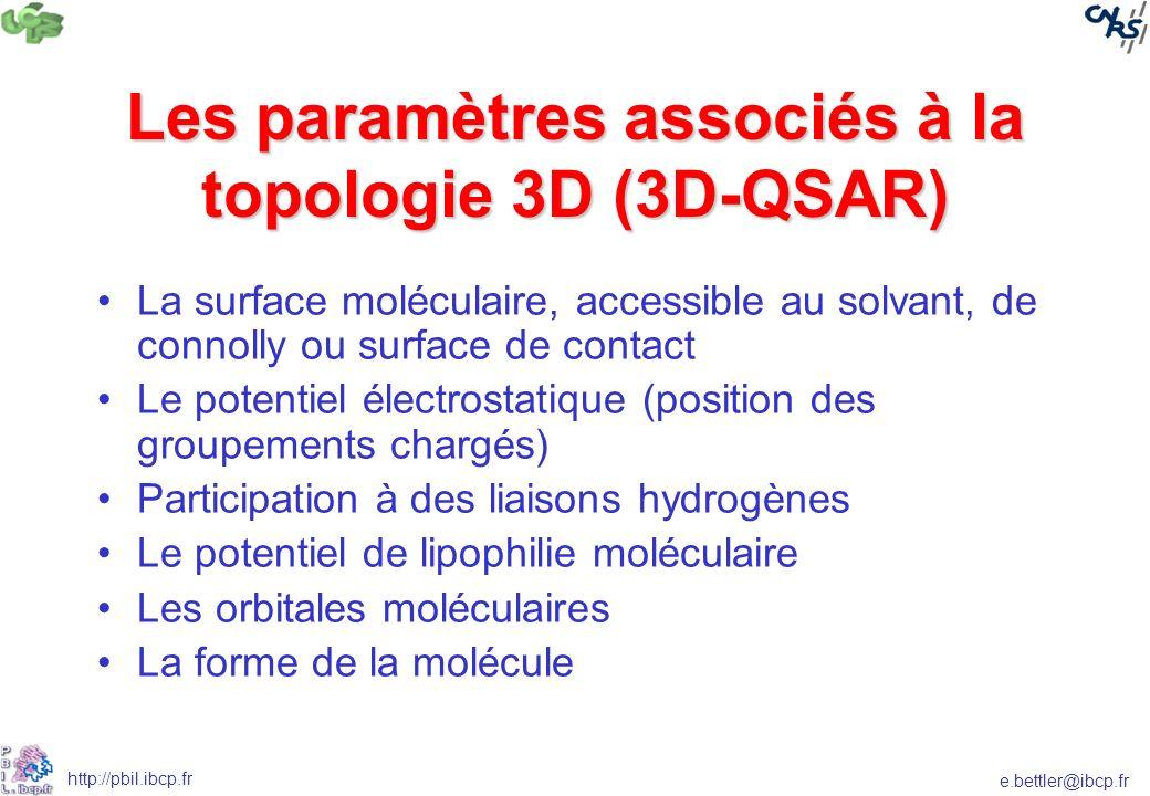 e.bettler@ibcp.fr http://pbil.ibcp.fr Les paramètres associés à la topologie 3D (3D-QSAR) La surface moléculaire, accessible au solvant, de connolly o