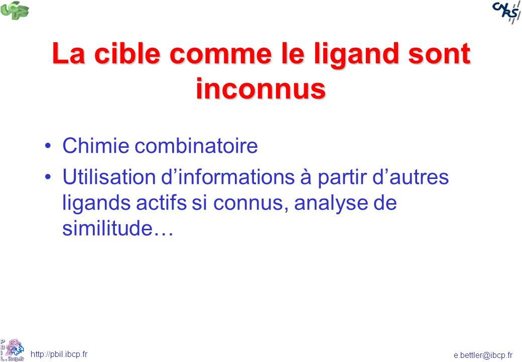 e.bettler@ibcp.fr http://pbil.ibcp.fr La cible comme le ligand sont inconnus Chimie combinatoire Utilisation dinformations à partir dautres ligands ac