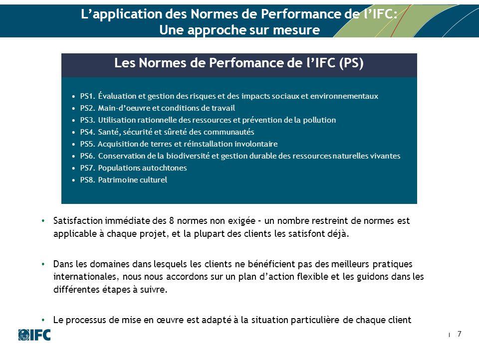 7 Lapplication des Normes de Performance de lIFC: Une approche sur mesure PS1.