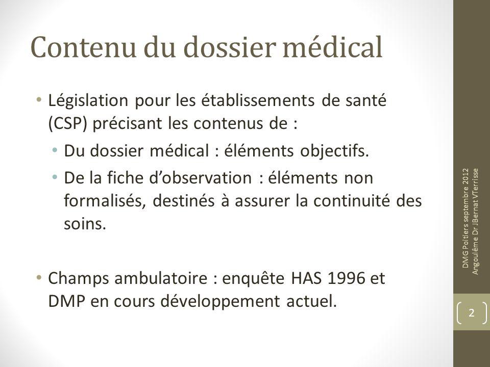 Contenu du dossier médical Législation pour les établissements de santé (CSP) précisant les contenus de : Du dossier médical : éléments objectifs. De
