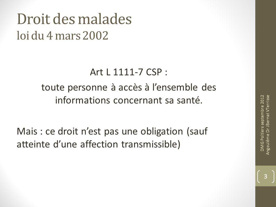 Droit des malades loi du 4 mars 2002 Art L 1111-7 CSP : toute personne à accès à lensemble des informations concernant sa santé. Mais : ce droit nest