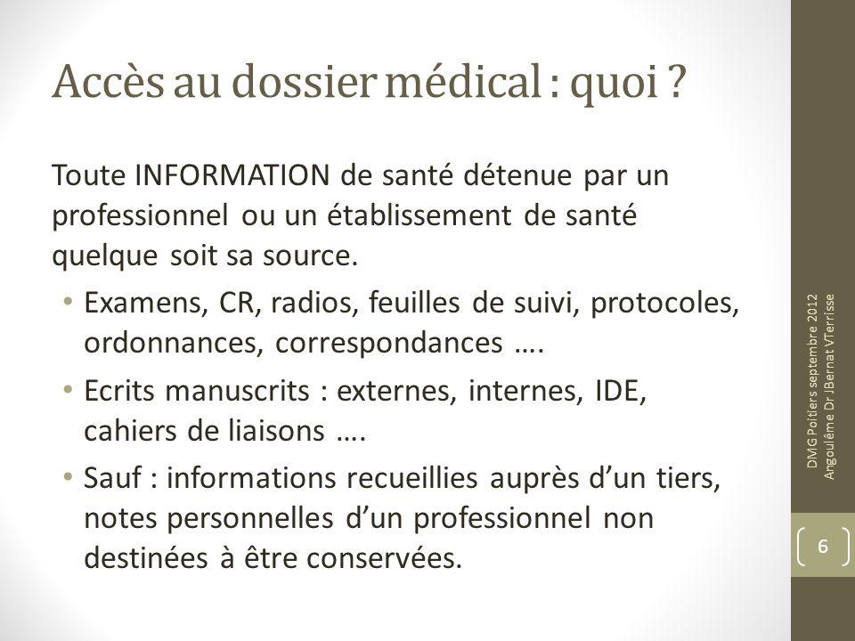 Accès au dossier médical : quoi ? Toute INFORMATION de santé détenue par un professionnel ou un établissement de santé quelque soit sa source. Examens