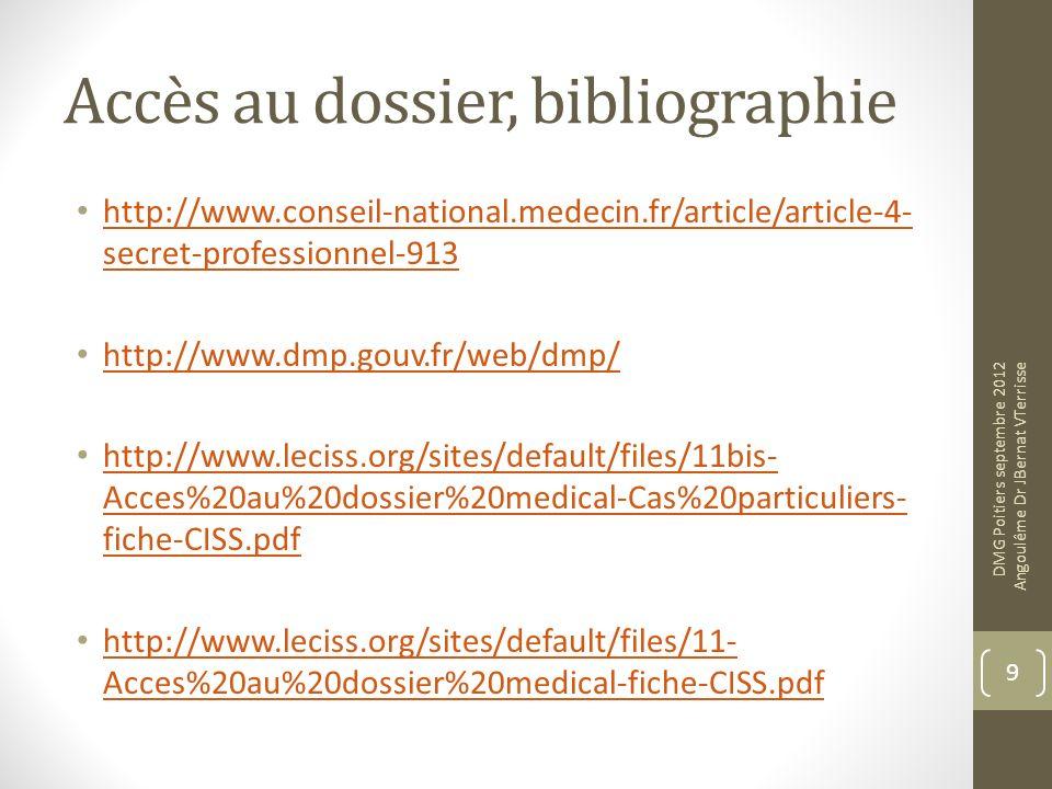 Accès au dossier, bibliographie http://www.conseil-national.medecin.fr/article/article-4- secret-professionnel-913 http://www.conseil-national.medecin