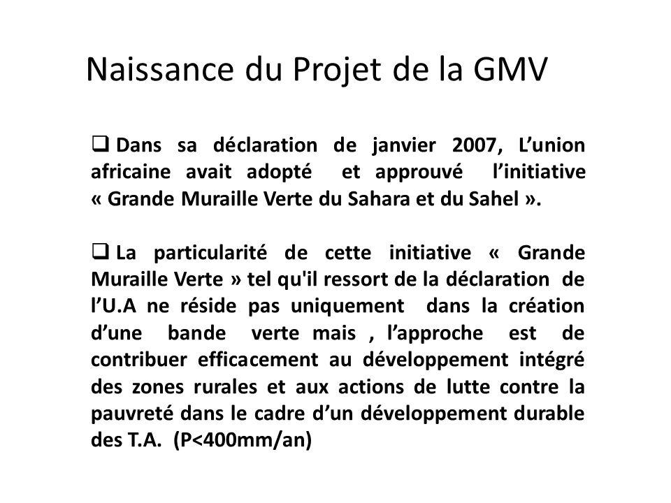 Naissance du Projet de la GMV Dans sa déclaration de janvier 2007, Lunion africaine avait adopté et approuvé linitiative « Grande Muraille Verte du Sahara et du Sahel ».