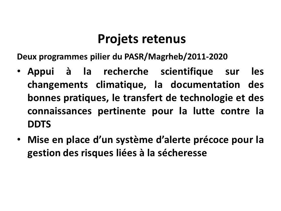 Projets retenus Deux programmes pilier du PASR/Magrheb/2011-2020 Appui à la recherche scientifique sur les changements climatique, la documentation des bonnes pratiques, le transfert de technologie et des connaissances pertinente pour la lutte contre la DDTS Mise en place dun système dalerte précoce pour la gestion des risques liées à la sécheresse