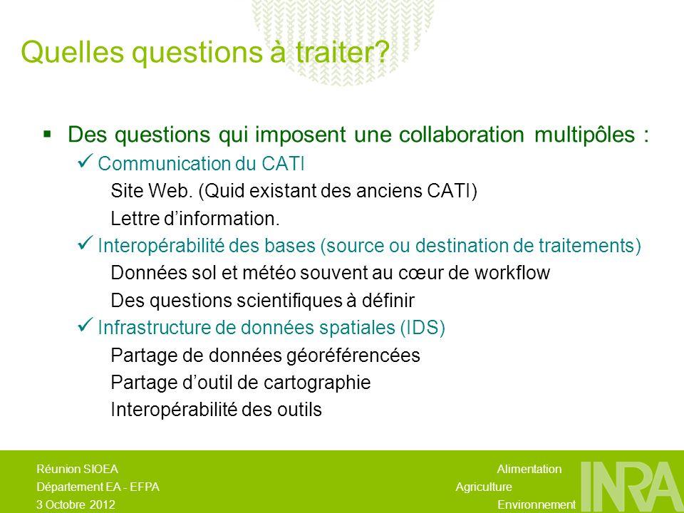 Alimentation Agriculture Environnement Réunion SIOEA Département EA - EFPA 3 Octobre 2012 Des questions qui imposent une collaboration multipôles : Communication du CATI Site Web.
