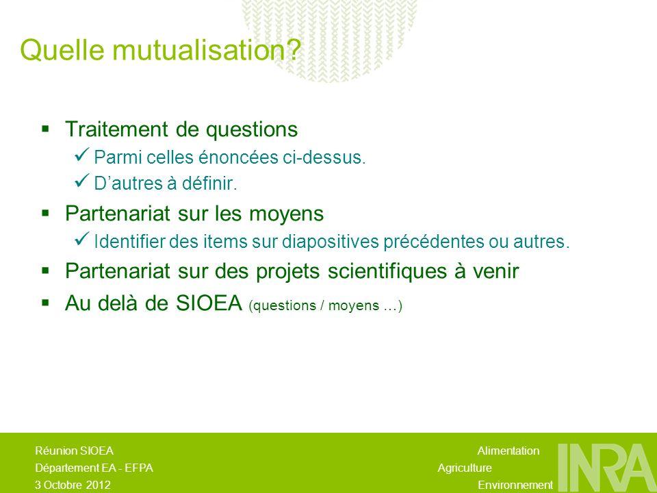 Alimentation Agriculture Environnement Réunion SIOEA Département EA - EFPA 3 Octobre 2012 Traitement de questions Parmi celles énoncées ci-dessus.