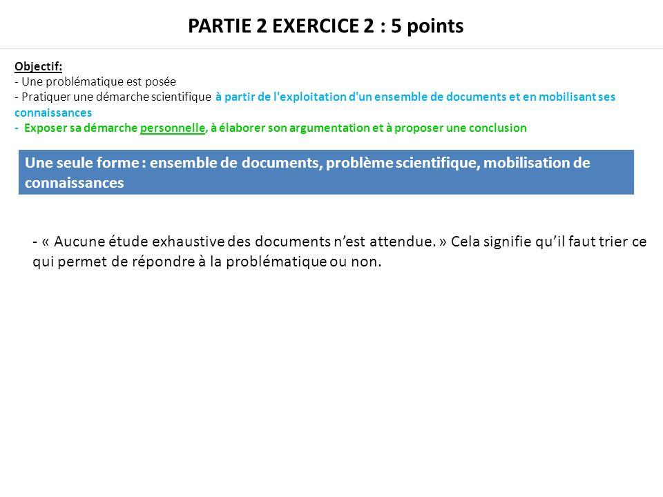 PARTIE 2 EXERCICE 2 : 5 points Objectif: - Une problématique est posée - Pratiquer une démarche scientifique à partir de l'exploitation d'un ensemble
