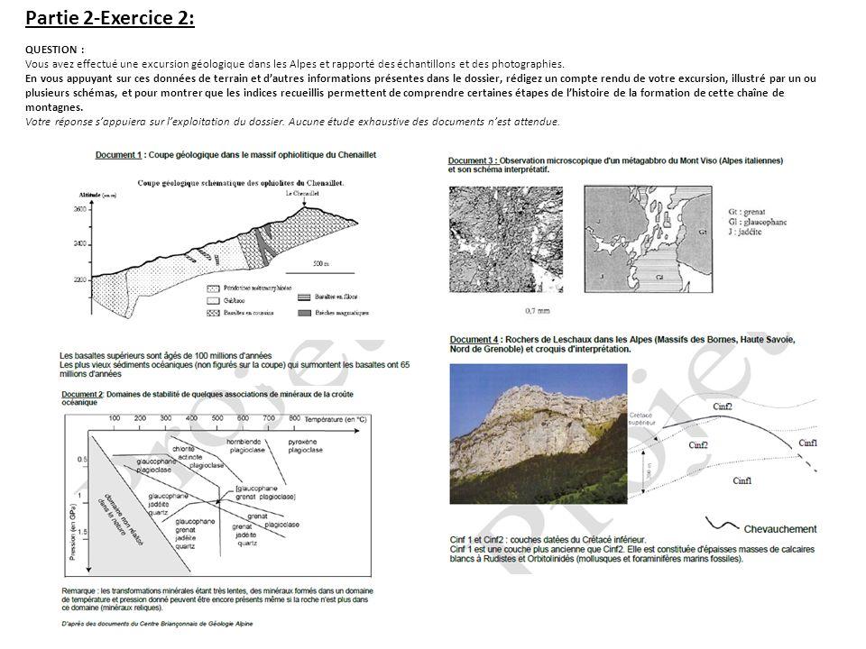 Partie 2-Exercice 2: QUESTION : Vous avez effectué une excursion géologique dans les Alpes et rapporté des échantillons et des photographies. En vous