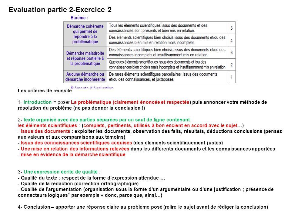 Evaluation partie 2-Exercice 2 Les critères de réussite 1- Introduction = poser La problématique (clairement énoncée et respectée) puis annoncer votre