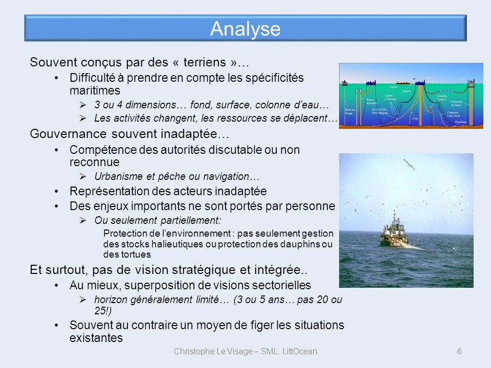 Analyse Souvent conçus par des « terriens »… Difficulté à prendre en compte les spécificités maritimes 3 ou 4 dimensions… fond, surface, colonne deau…