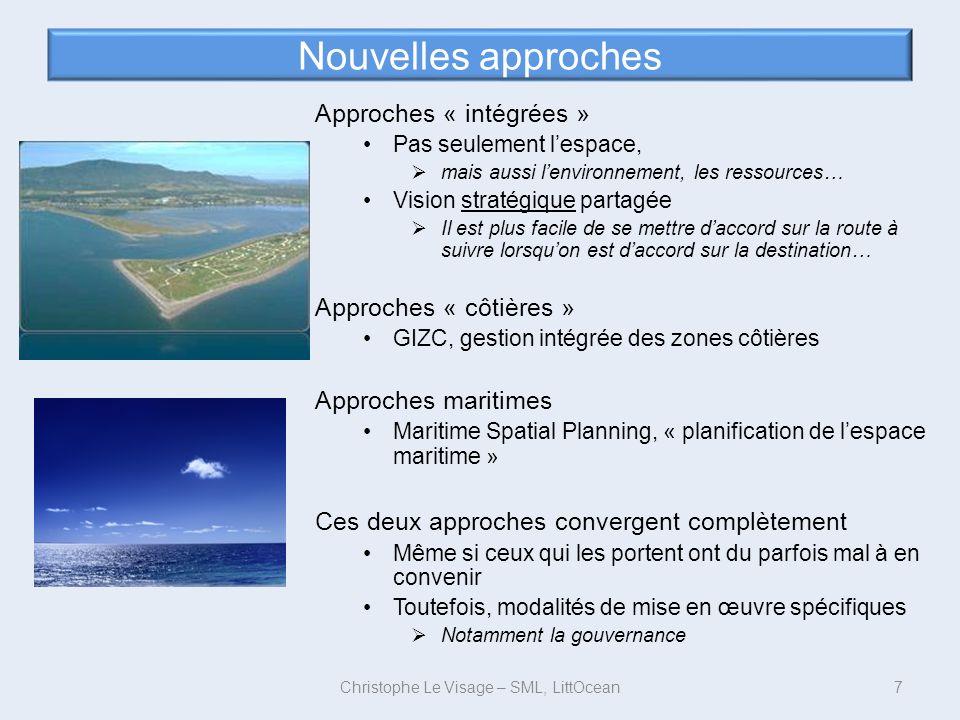 Nouvelles approches Approches « intégrées » Pas seulement lespace, mais aussi lenvironnement, les ressources… Vision stratégique partagée Il est plus
