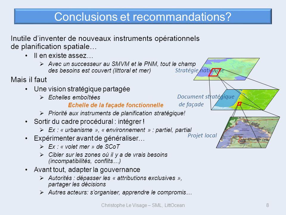 Conclusions et recommandations? Inutile dinventer de nouveaux instruments opérationnels de planification spatiale… Il en existe assez… Avec un success
