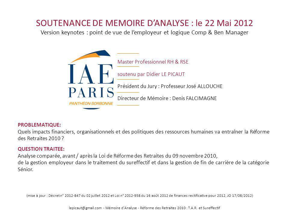 SOUTENANCE DE MEMOIRE DANALYSE : le 22 Mai 2012 Version keynotes : point de vue de lemployeur et logique Comp & Ben Manager Master Professionnel RH &