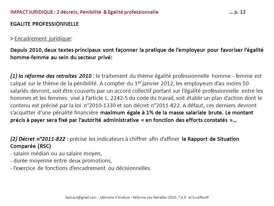 lepicaut@gmail.com - Mémoire dAnalyse - Réforme des Retraites 2010 : T.A.R. et Sureffectif EGALITE PROFESSIONNELLE > Encadrement juridique: Depuis 201