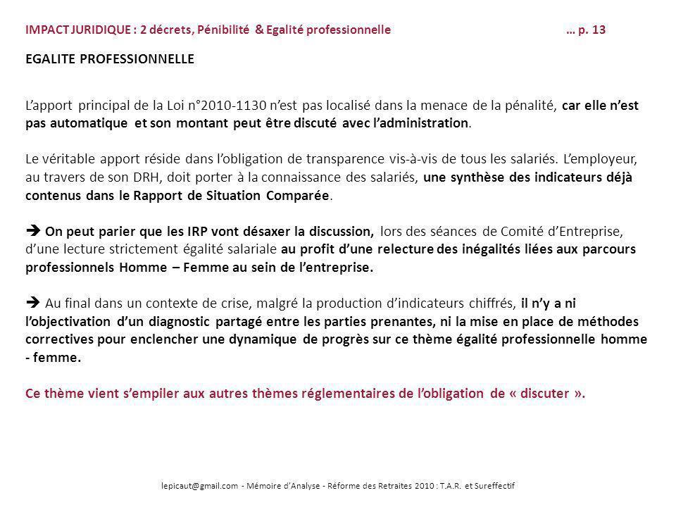 lepicaut@gmail.com - Mémoire dAnalyse - Réforme des Retraites 2010 : T.A.R. et Sureffectif EGALITE PROFESSIONNELLE Lapport principal de la Loi n°2010-