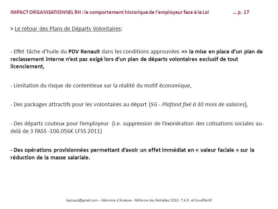 lepicaut@gmail.com - Mémoire dAnalyse - Réforme des Retraites 2010 : T.A.R. et Sureffectif - Effet tâche dhuile du PDV Renault dans les conditions app