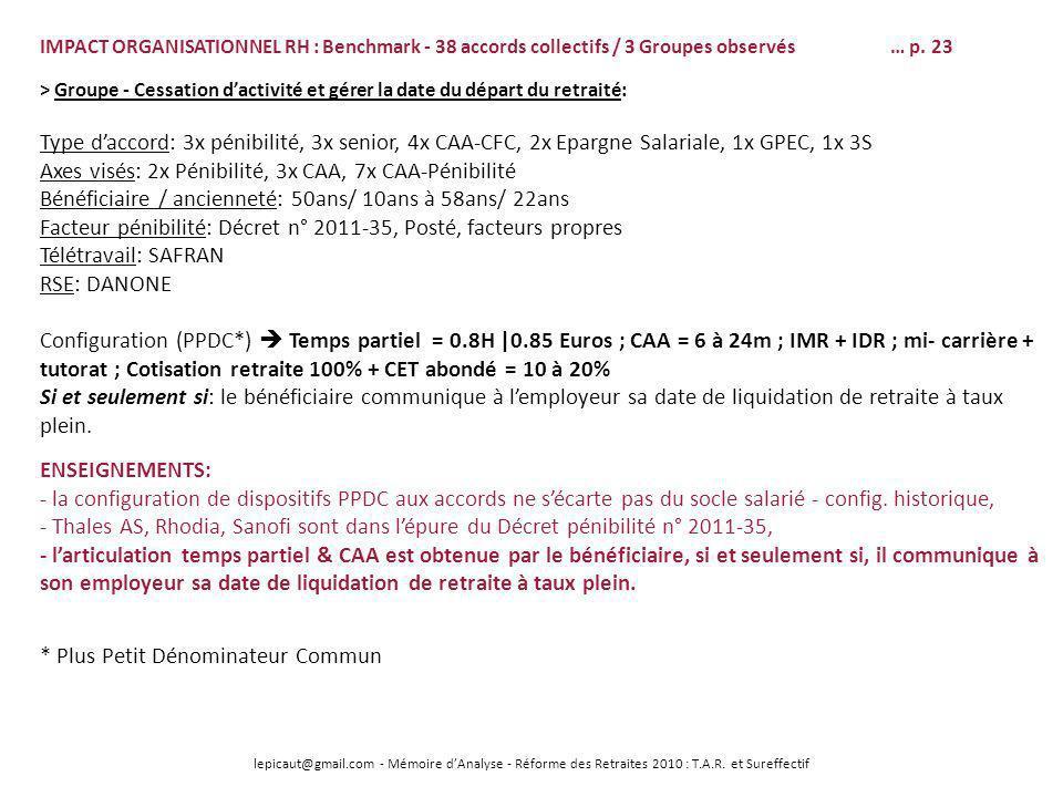 lepicaut@gmail.com - Mémoire dAnalyse - Réforme des Retraites 2010 : T.A.R. et Sureffectif IMPACT ORGANISATIONNEL RH : Benchmark - 38 accords collecti