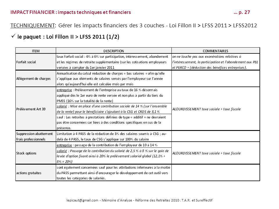 lepicaut@gmail.com - Mémoire dAnalyse - Réforme des Retraites 2010 : T.A.R. et Sureffectif IMPACT FINANCIER : impacts techniques et financiers… p. 27