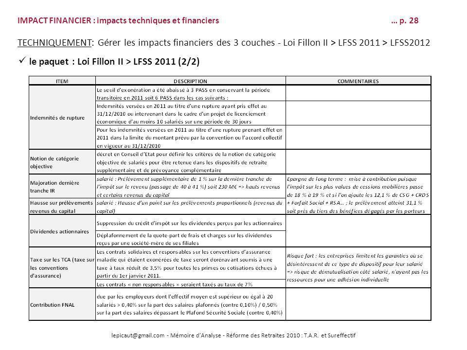 lepicaut@gmail.com - Mémoire dAnalyse - Réforme des Retraites 2010 : T.A.R. et Sureffectif IMPACT FINANCIER : impacts techniques et financiers… p. 28