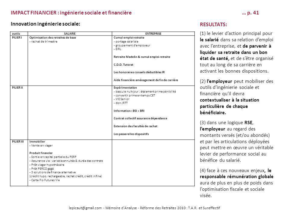 lepicaut@gmail.com - Mémoire dAnalyse - Réforme des Retraites 2010 : T.A.R. et Sureffectif IMPACT FINANCIER : ingénierie sociale et financière… p. 41