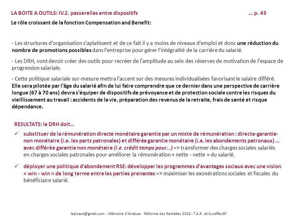 lepicaut@gmail.com - Mémoire dAnalyse - Réforme des Retraites 2010 : T.A.R. et Sureffectif LA BOITE A OUTILS: IV.2. passerelles entre dispositifs… p.