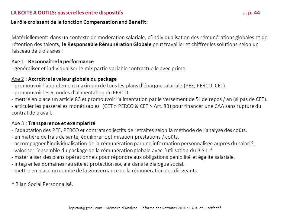 lepicaut@gmail.com - Mémoire dAnalyse - Réforme des Retraites 2010 : T.A.R. et Sureffectif LA BOITE A OUTILS: passerelles entre dispositifs… p. 44 Le