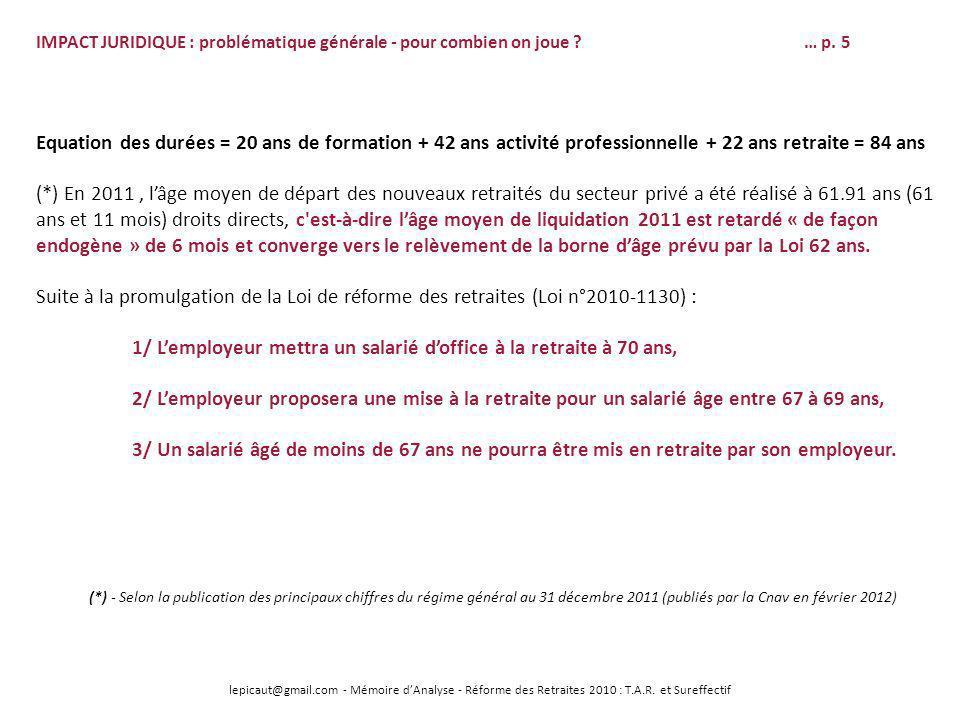 lepicaut@gmail.com - Mémoire dAnalyse - Réforme des Retraites 2010 : T.A.R. et Sureffectif IMPACT JURIDIQUE : problématique générale - pour combien on