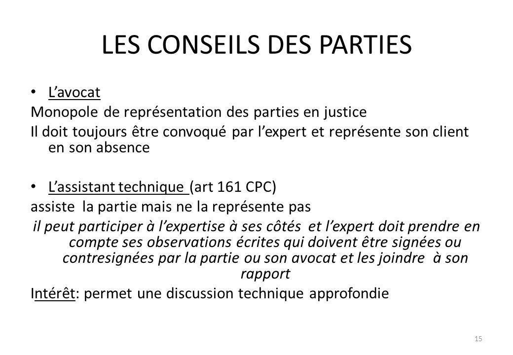LES CONSEILS DES PARTIES Lavocat Monopole de représentation des parties en justice Il doit toujours être convoqué par lexpert et représente son client
