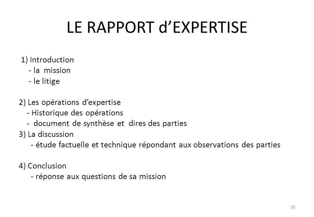 LE RAPPORT dEXPERTISE 1) Introduction - la mission - le litige 2) Les opérations dexpertise - Historique des opérations - document de synthèse et dire