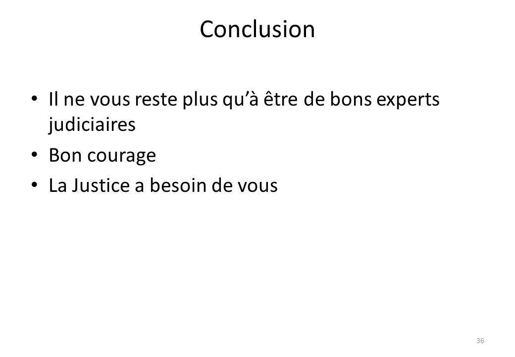 Conclusion Il ne vous reste plus quà être de bons experts judiciaires Bon courage La Justice a besoin de vous 36