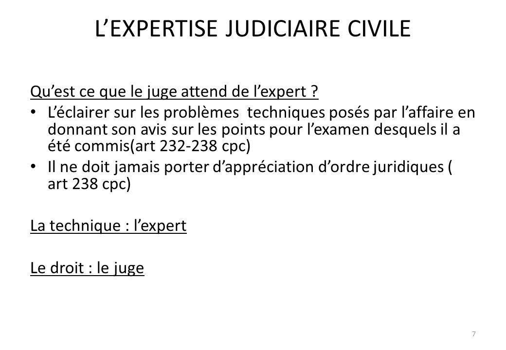 LEXPERTISE JUDICIAIRE CIVILE Quest ce que le juge attend de lexpert ? Léclairer sur les problèmes techniques posés par laffaire en donnant son avis su