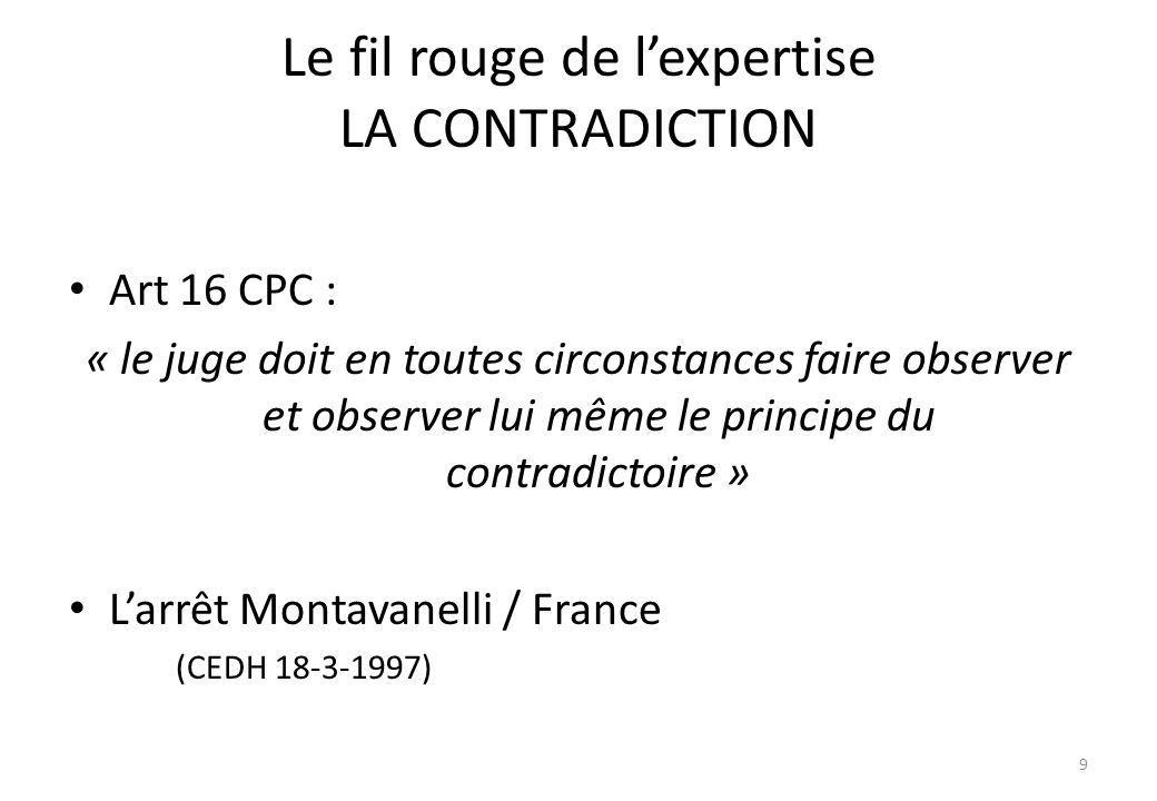 Le fil rouge de lexpertise LA CONTRADICTION Art 16 CPC : « le juge doit en toutes circonstances faire observer et observer lui même le principe du con