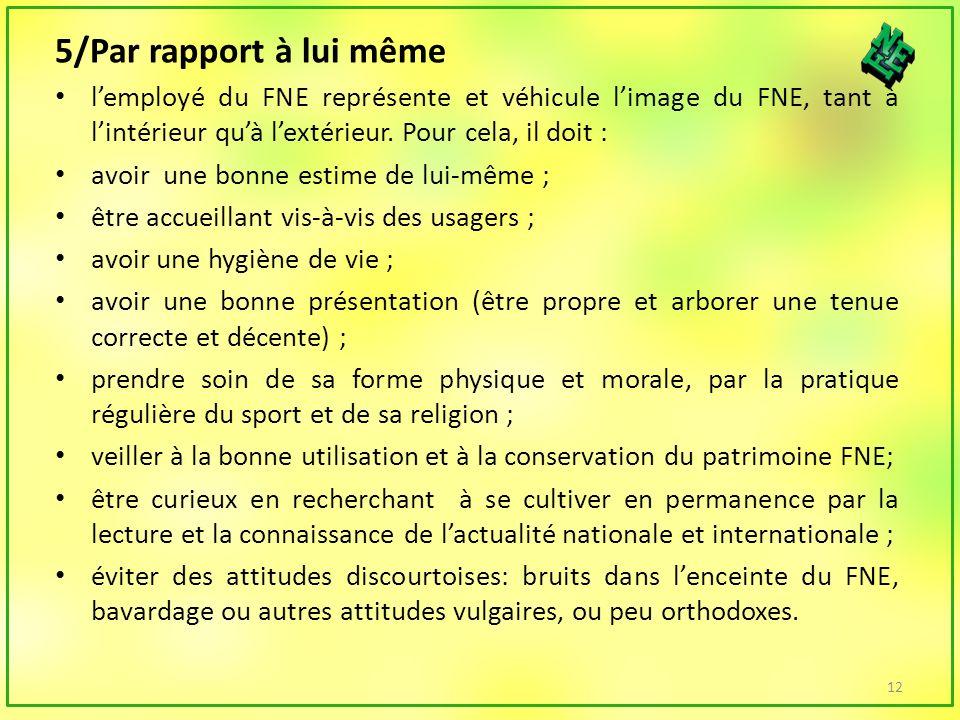 5/Par rapport à lui même lemployé du FNE représente et véhicule limage du FNE, tant à lintérieur quà lextérieur.