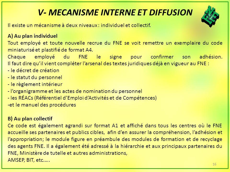 16 V- MECANISME INTERNE ET DIFFUSION Il existe un mécanisme à deux niveaux : individuel et collectif.