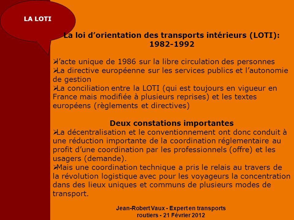 Jean-Robert Vaux - Expert en transports routiers - 21 Février 2012 LA LOTI La loi dorientation des transports intérieurs (LOTI): 1982-1992 lacte uniqu