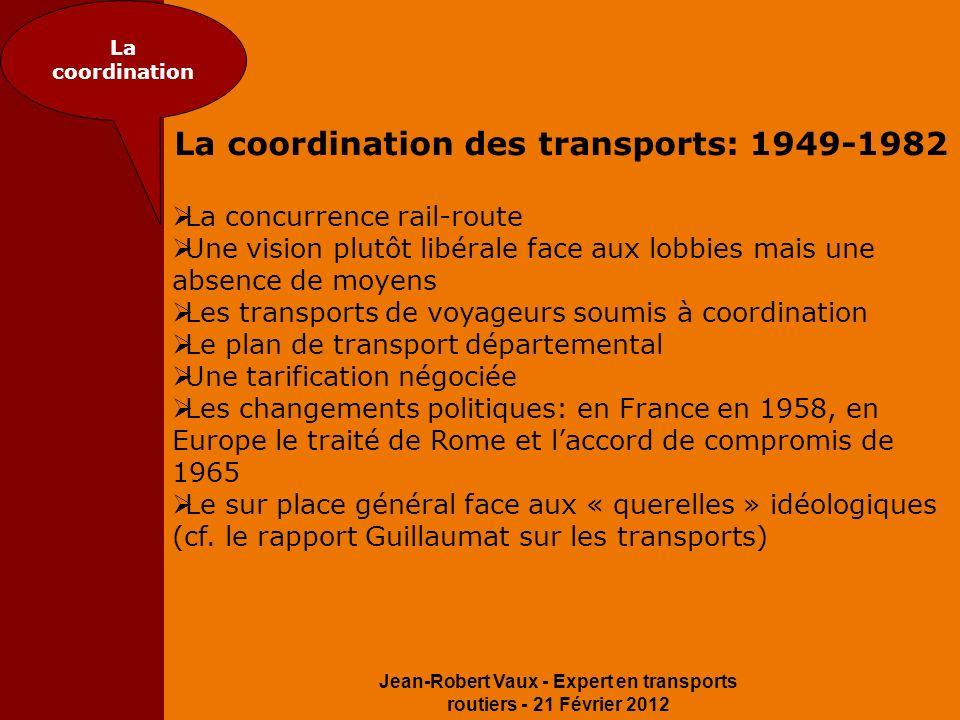 Jean-Robert Vaux - Expert en transports routiers - 21 Février 2012 La coordination La coordination des transports: 1949-1982 La concurrence rail-route