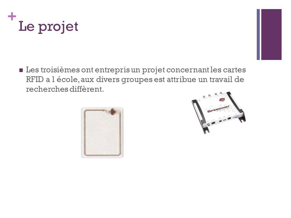 + Le projet Les troisièmes ont entrepris un projet concernant les cartes RFID a l école, aux divers groupes est attribue un travail de recherches diffèrent.